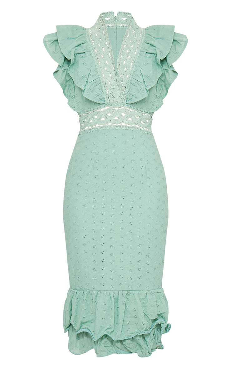 Sage Green Broderie Anglaise Trim Detail Midi Dress 5