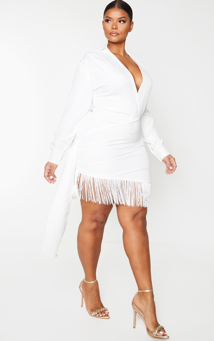 Plus White Long Sleeve Tassel Hem Drape Detail Bodycon Dress 3