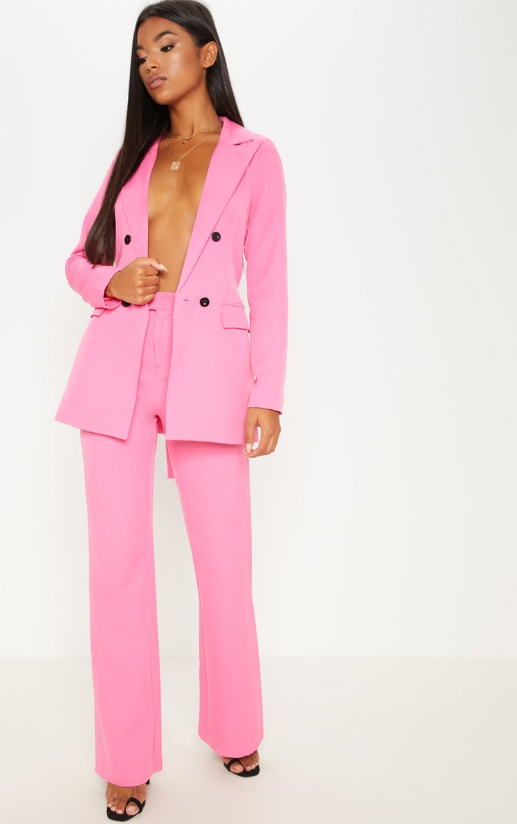 Pink Belted Longline Blazer  2