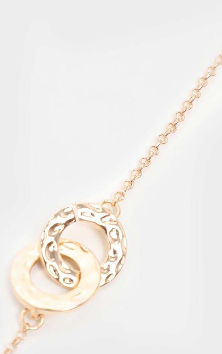 Gold Double Circle Link Pendant Necklace 3