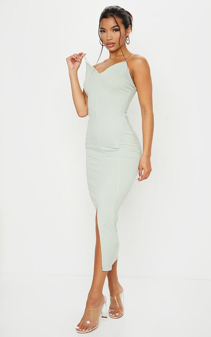 Sage Green Strappy Plunge Ribbed Midaxi Dress 3
