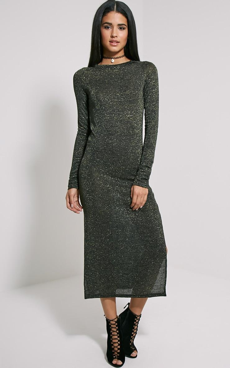 Ivria Black Side Split Knitted Dress 5