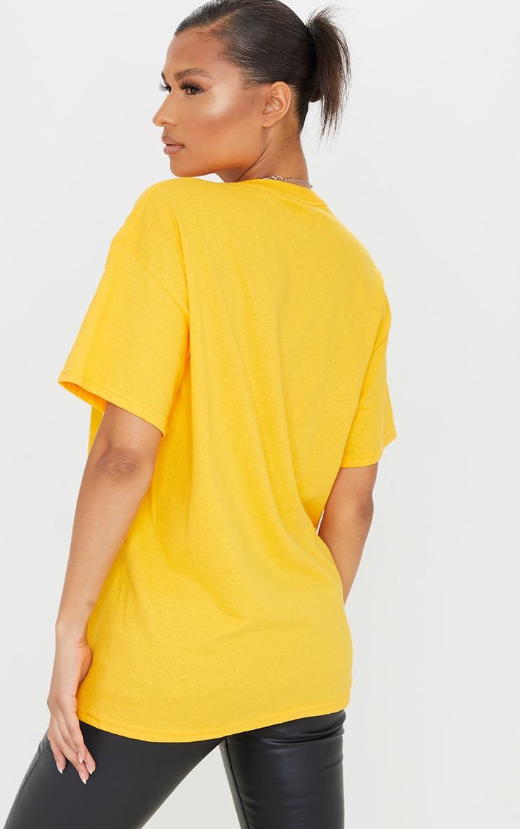 PRETTYLITTLETHING Mustard Graphic Oversized T Shirt 2