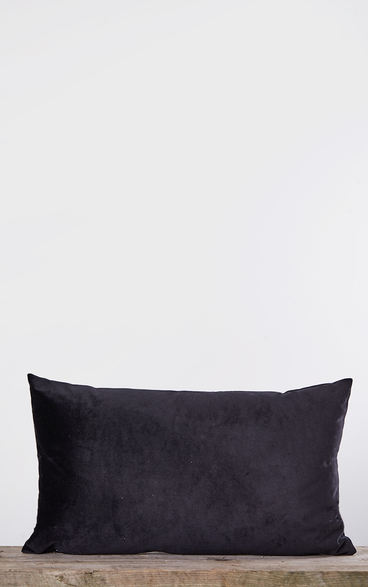 Black Rectangle Velvet Filled Cushion 4
