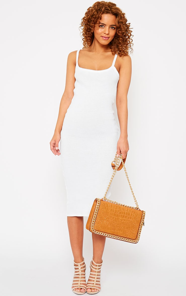 Tasmine White Ribbed Midi Dress 3