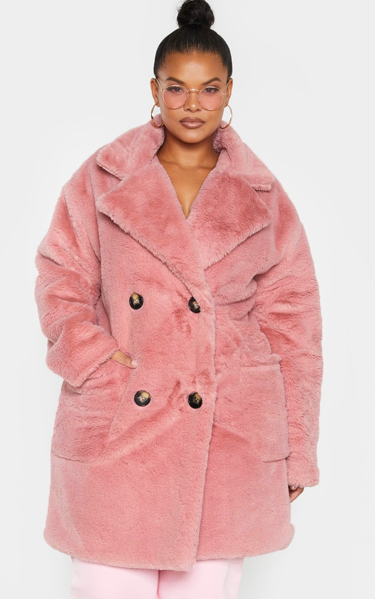 Plus Rose Faux Fur Double Breasted Coat 4