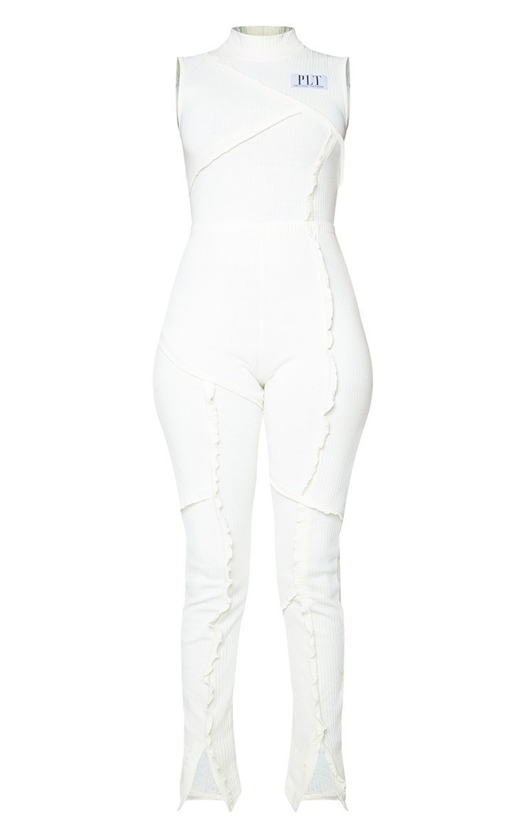 PRETTYLITTLETHING Cream Seam Detail Rib Jumpsuit 5