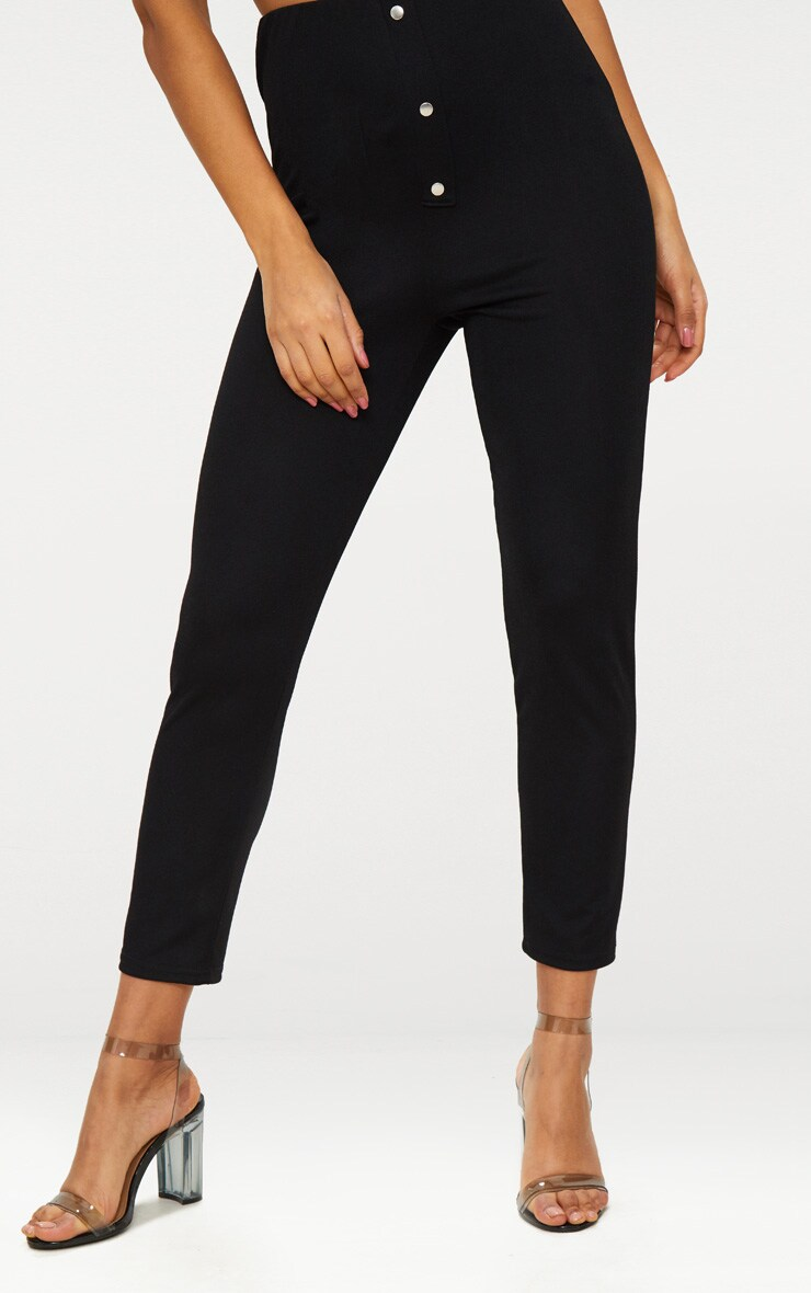 Black Super High Waisted Popper Front Trouser 2