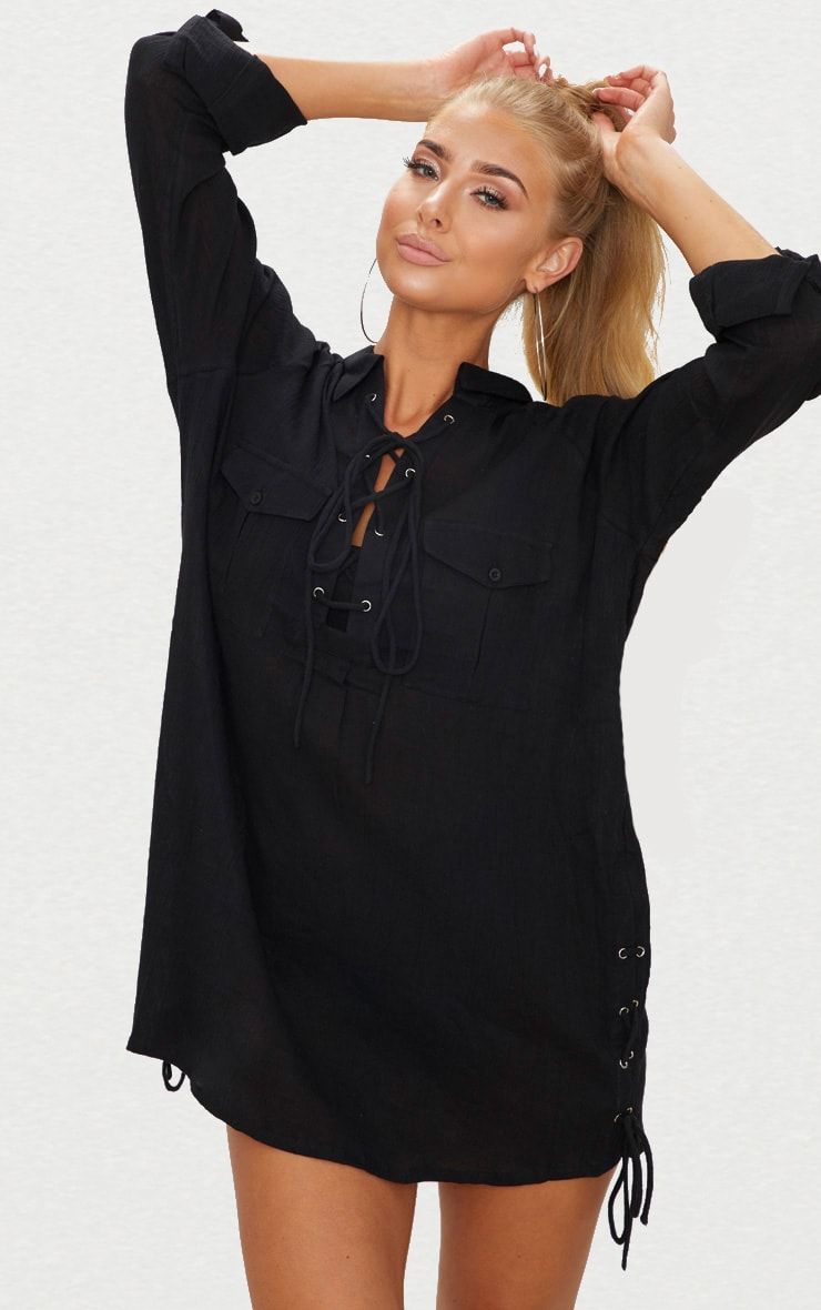 Black Lace Up Double Pocket Beach Shirt 1