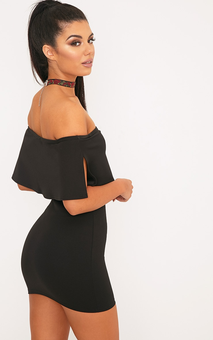 Carley Black Frill Bodycon Dress  2