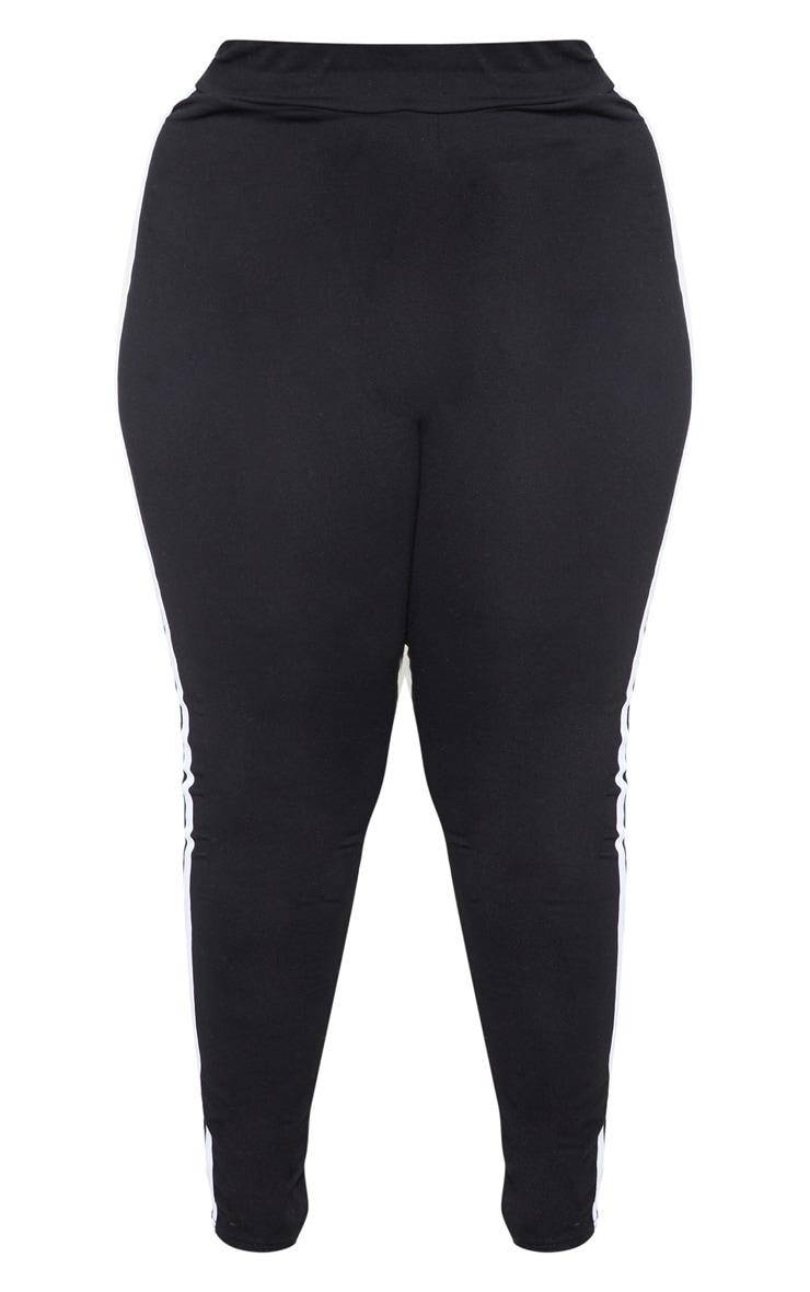 Plus Black Sports Stripe Leggings 3