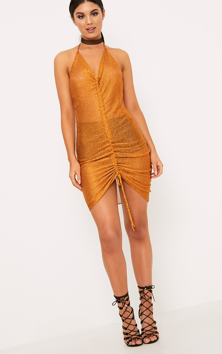 Makina Rust Ruched  Metallic Knit Mini Dress 3