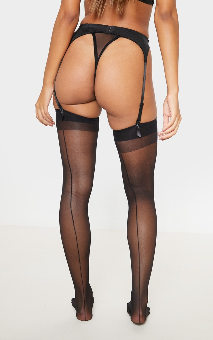 Black Sheer Hold Up Stockings 3