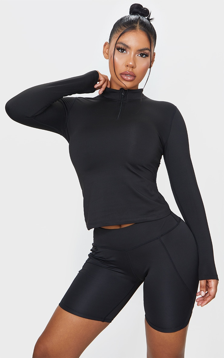 Black Marl Fleece Lined Long Sleeve Gym Top 1