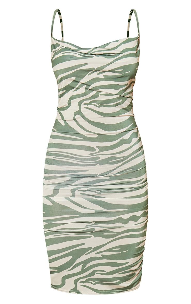 Green Zebra Print Strappy Ruched Bodycon Dress 5