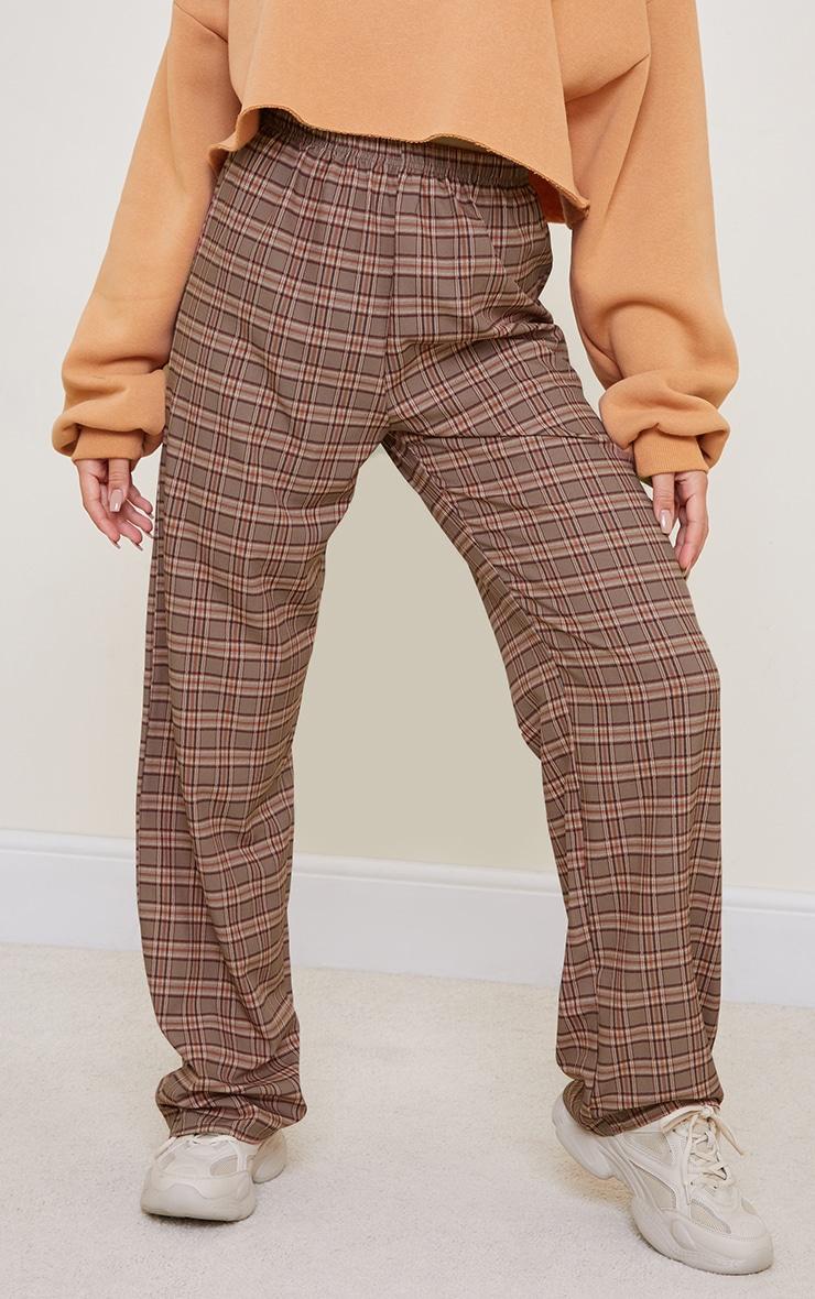 Brown Classic Check Wide Leg Pants 2