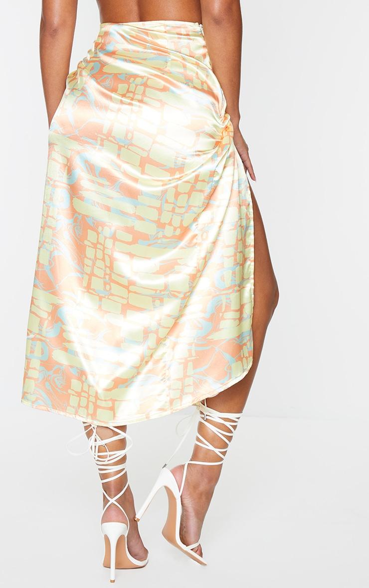 Orange Abstract Printed Wrap Tie Midi Skirt 3