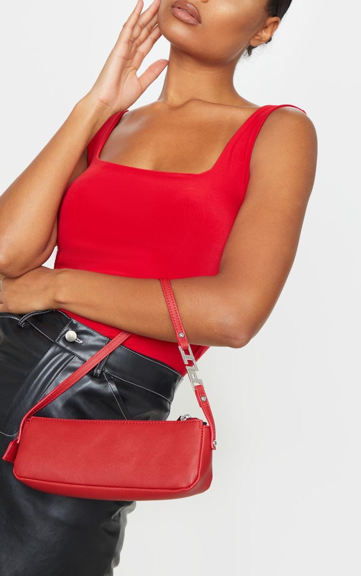Red PrettyLittleThing Handle PU Baguette Shoulder Bag 1