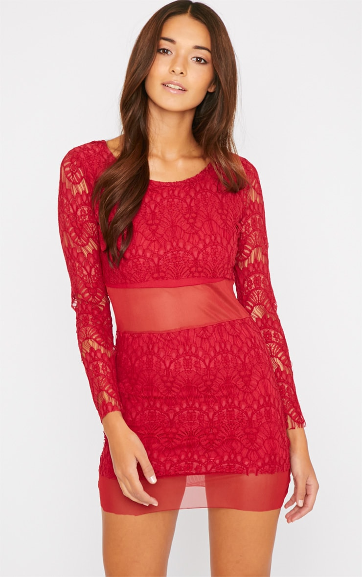 Bailey Red Premium Lace Mini Dress 5