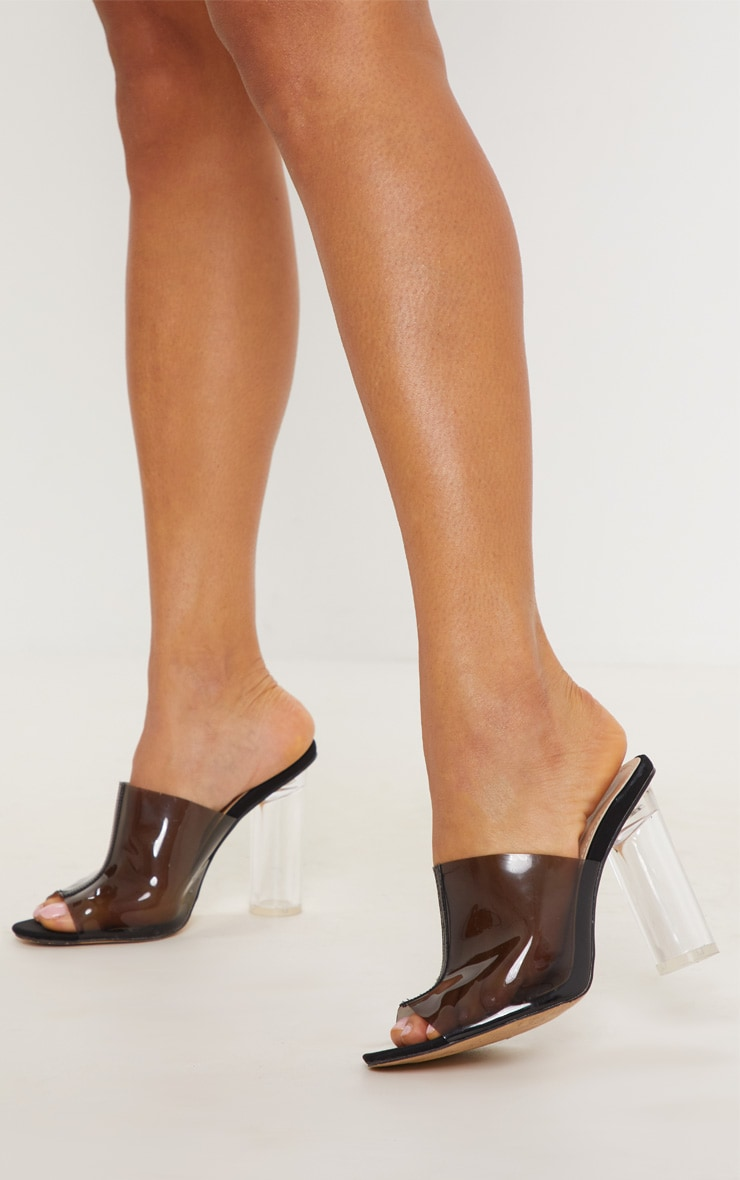 Black Clear Mid Heel Mule 1