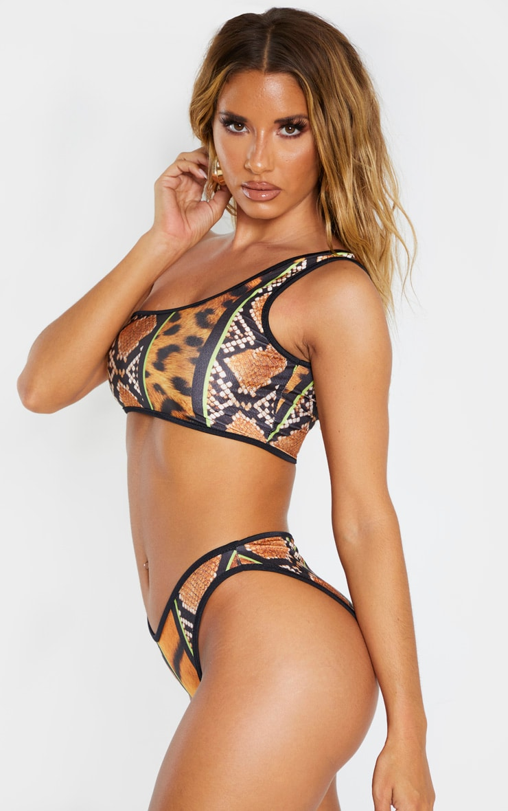 Orange Stripe Tiger Print High Leg Bikini Bottom 3