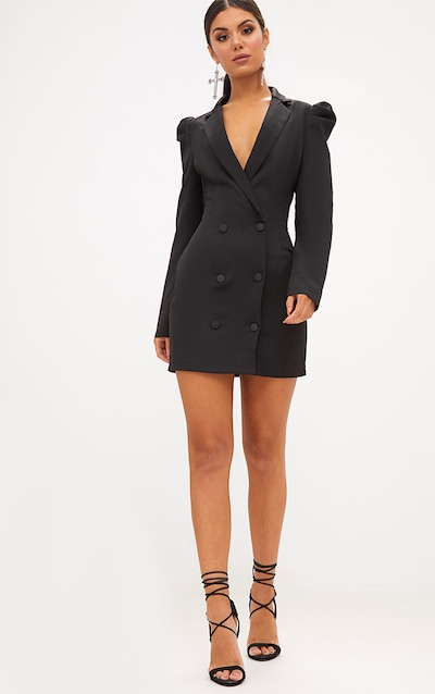 Black Puff Sleeve Button Up Blazer Dress