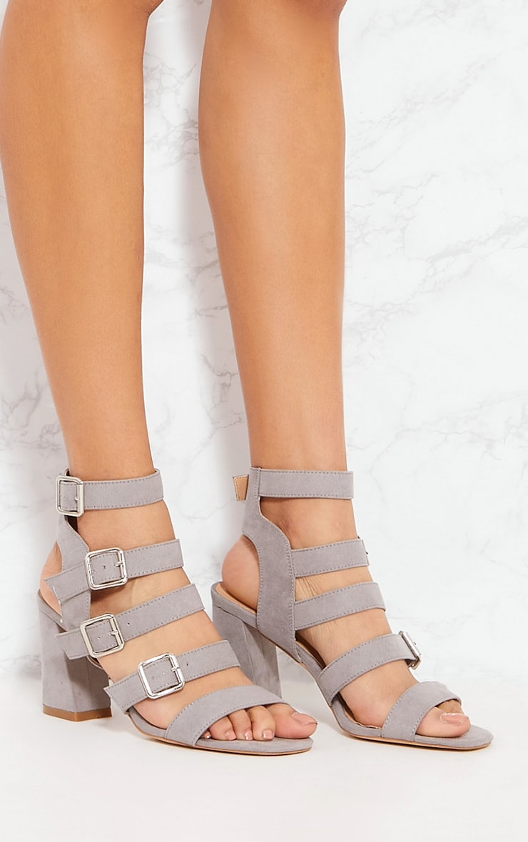Grey Strappy Buckle Block Heel Sandal 3