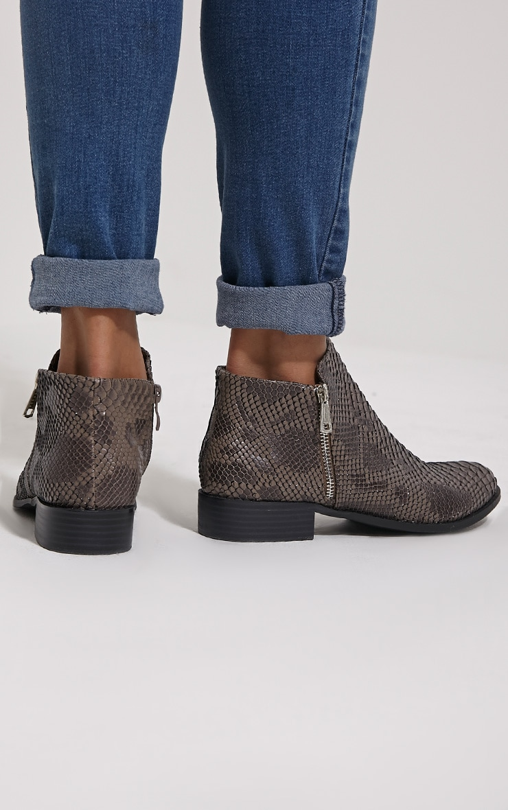 Grey Croc Effect Low Ankle Boots 2