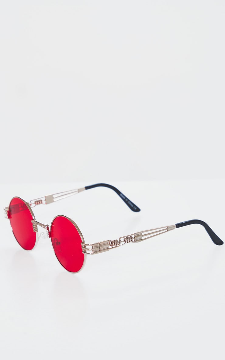 Red Rounded Metal Frame Retro Sunglasses 3