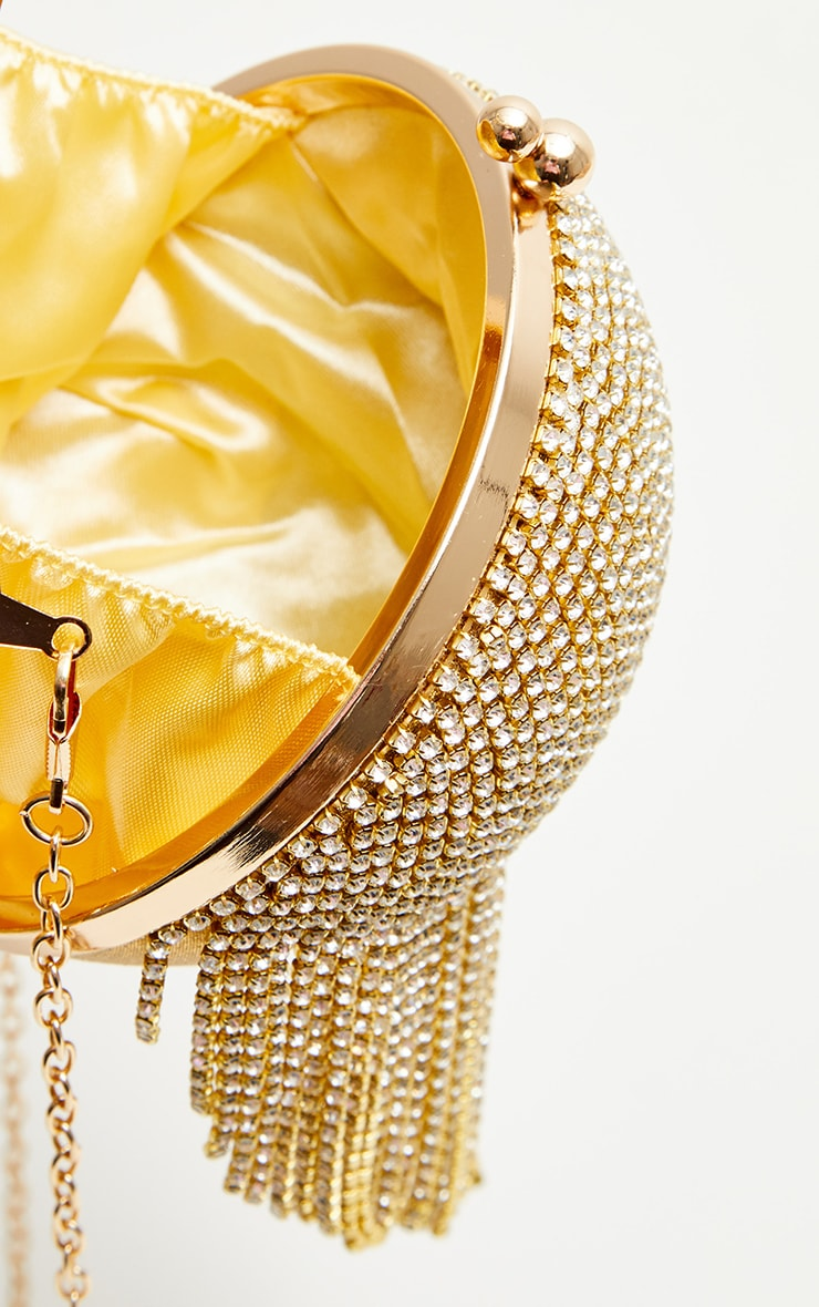 Gold Diamante Tassel Sphere Clutch 4