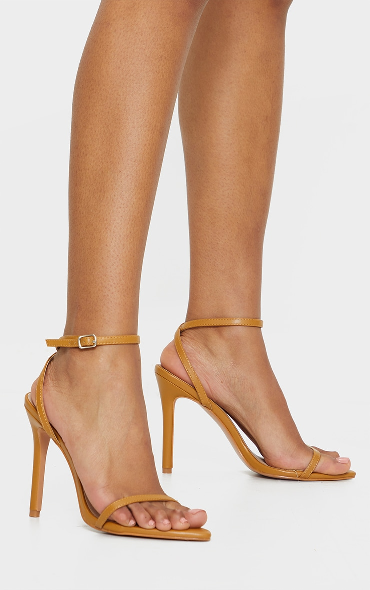 Camel Ankle Strap Angled Toe Heels 1