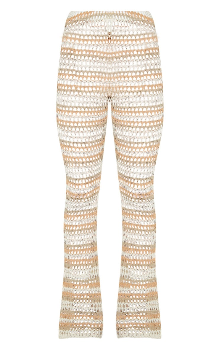 Stone Crochet Stripe Knitted Pants 3