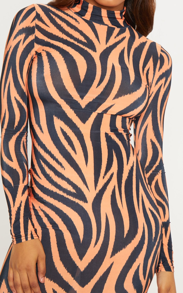 Tall Orange Zebra Print High Neck Slinky Midi Dress 5