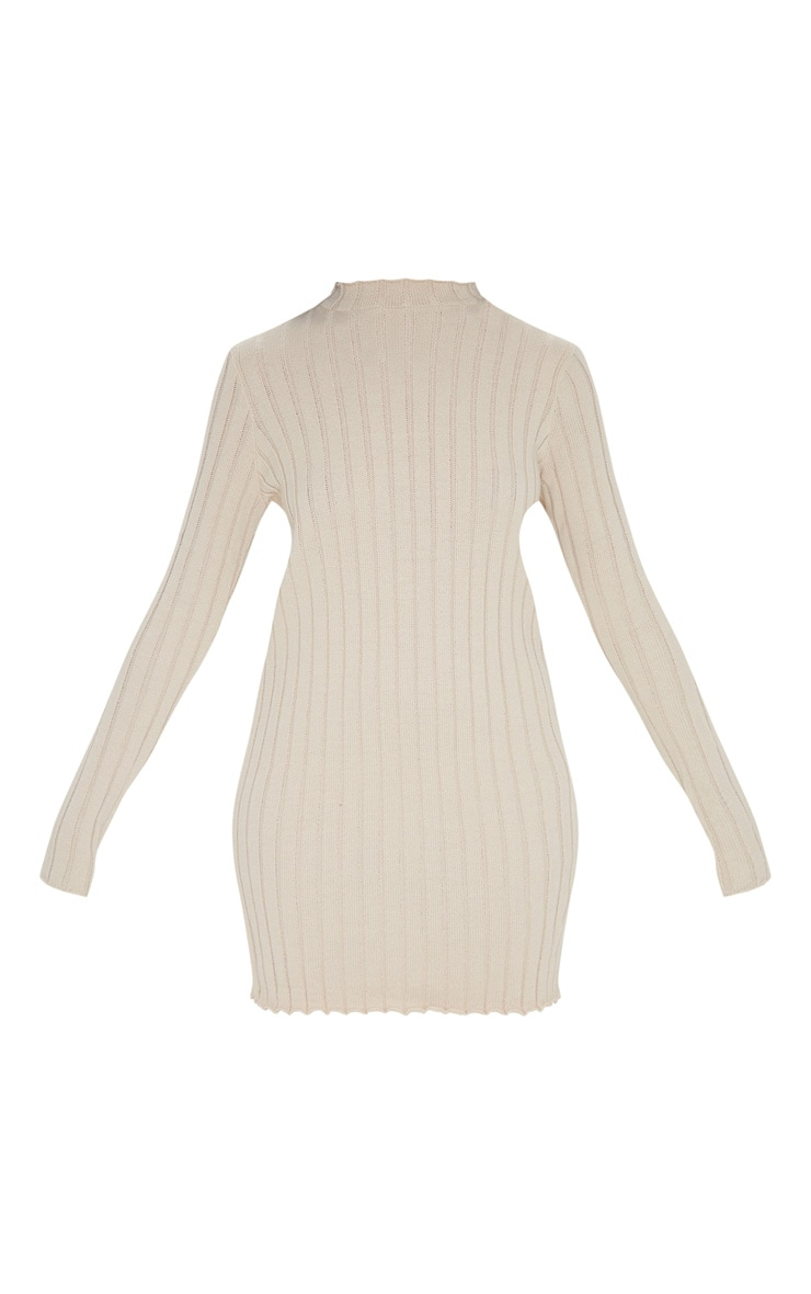 Stone Frill Edge High Neck Knit Dress 3