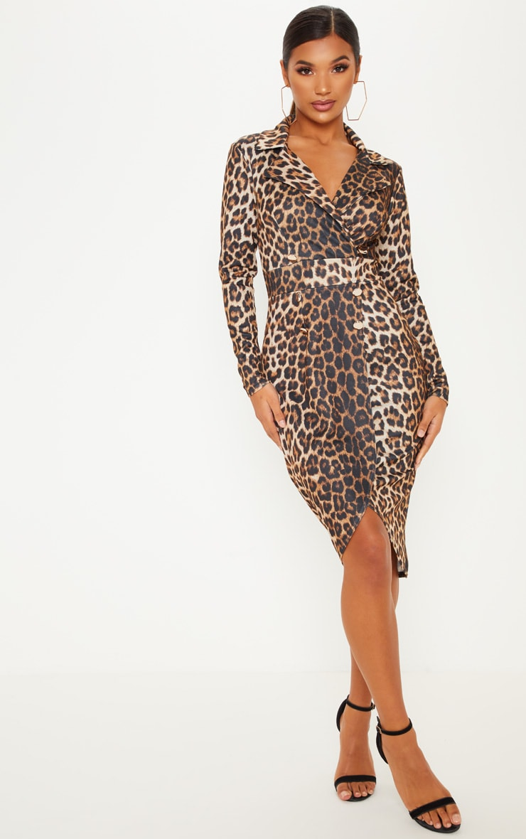 Tan Leopard Print Military Style Midi Blazer Dress