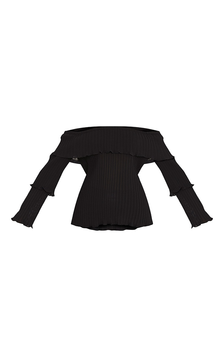 Carly Black Pleated Bardot Frill Sleeve Blouse 3