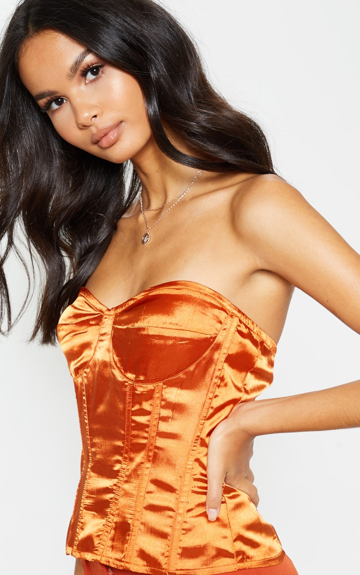Burnt Orange Satin Corset 5