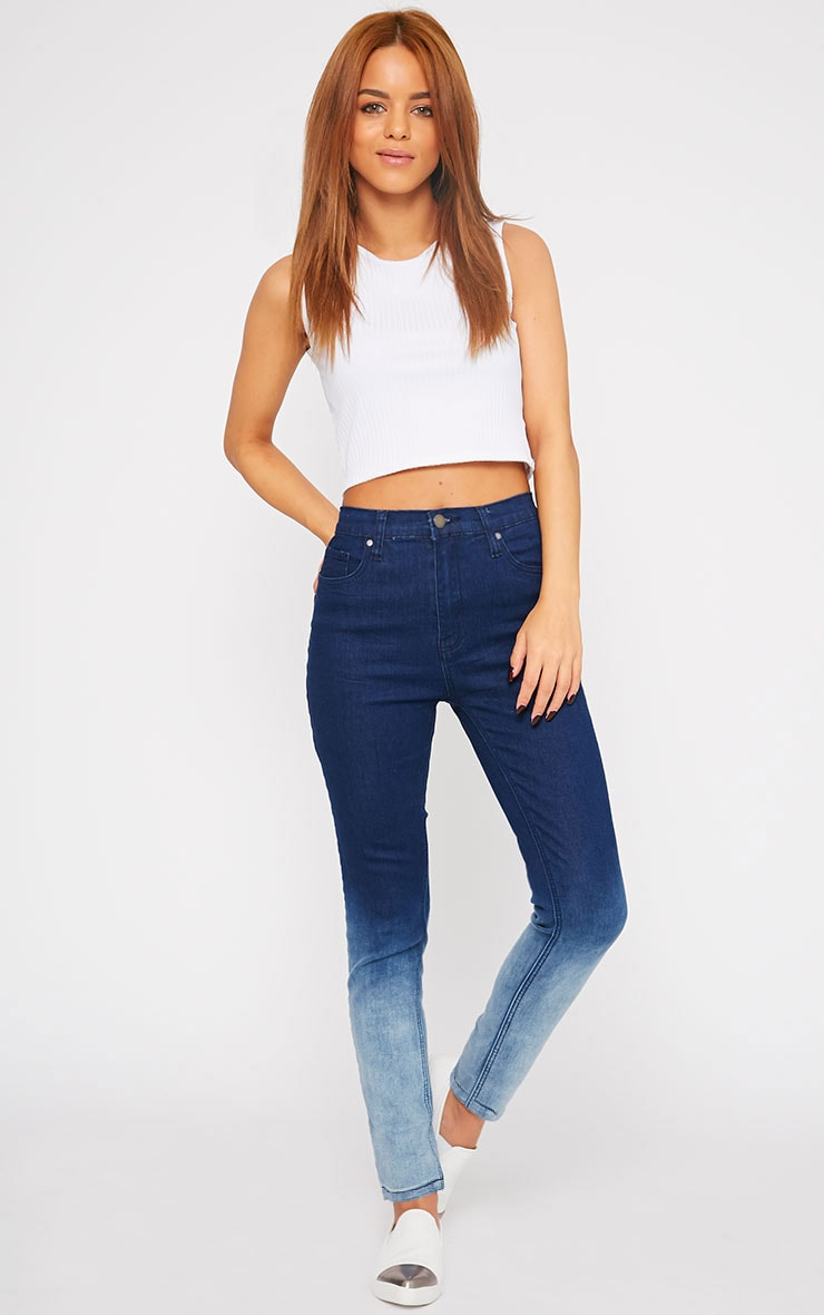 Bonnie Blue Mid Rise Ombre Skinny Jean 1