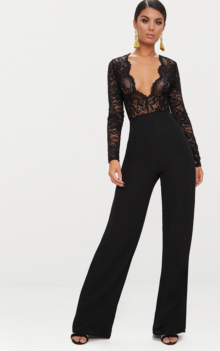 Black Lace Long Sleeve Plunge Jumpsuit