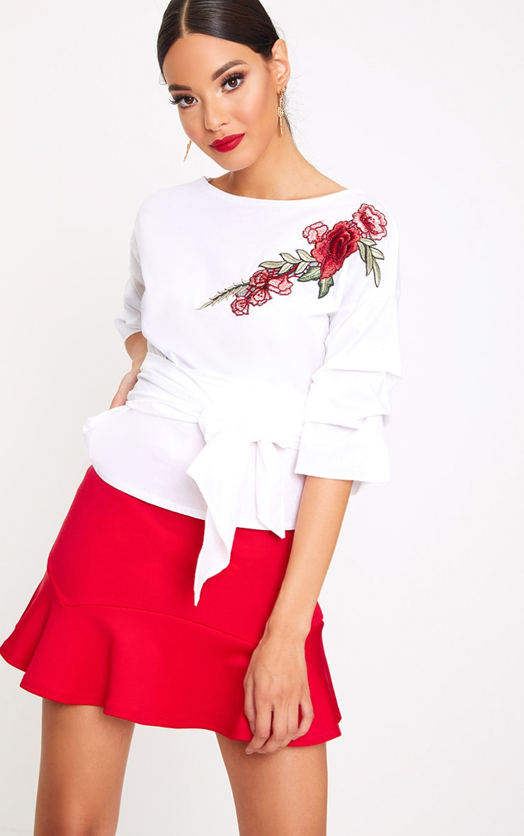 White Applique Ruched Frill Sleeve Shirt 1