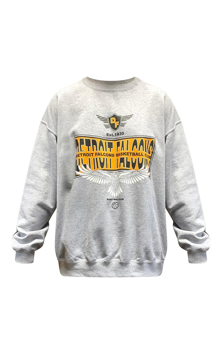 Grey Detroit Falcons Slogan Printed Sweatshirt 5