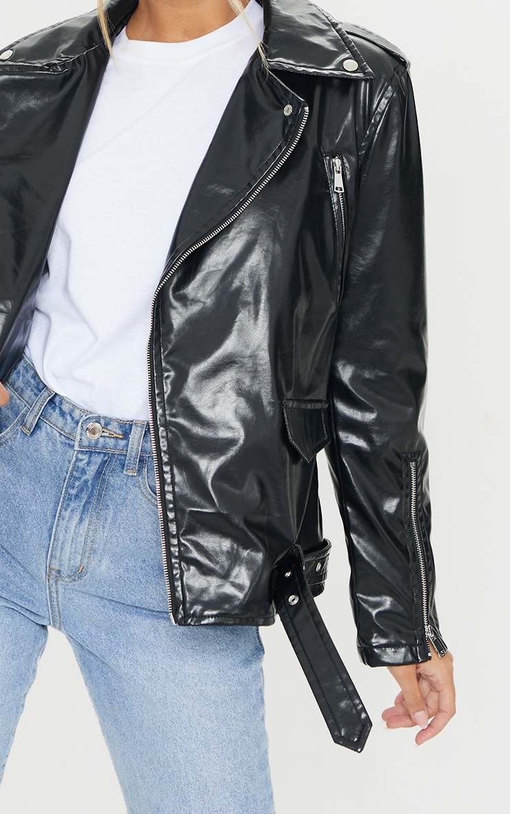 Black Oversized PU Biker Jacket 4