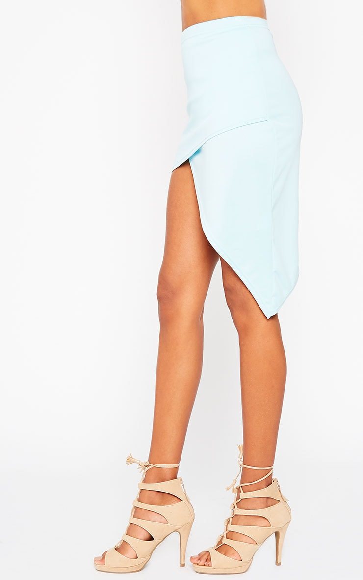 Tiff Powder Blue Wrap Hem Scuba Skirt 3