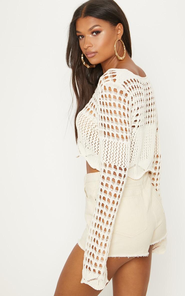 Cream Crochet Long Sleeve Top  2