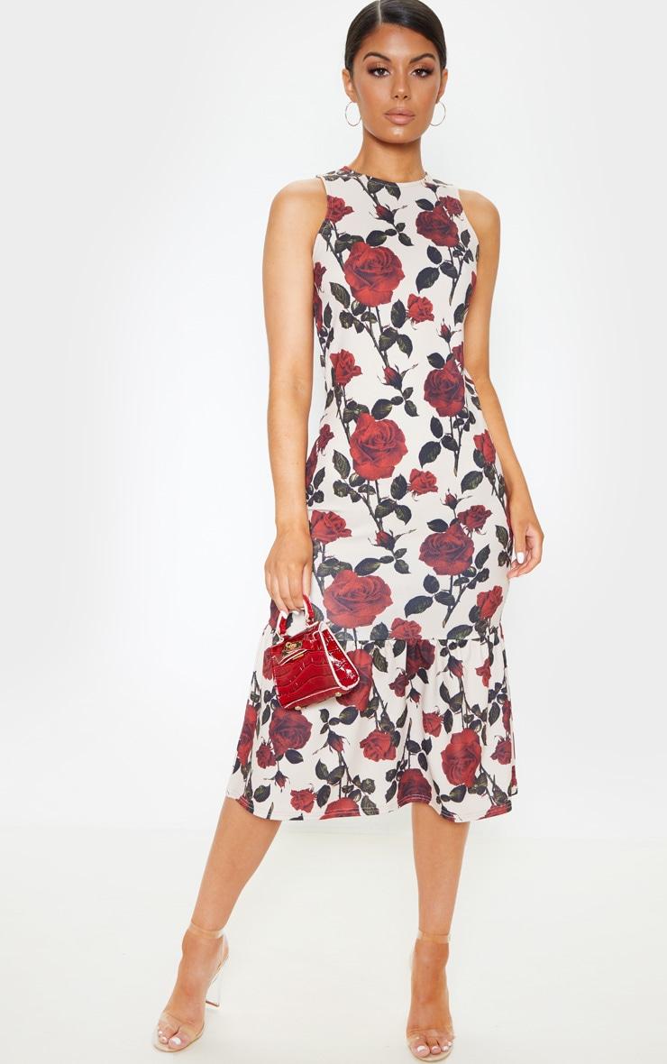 Nude Rose Print Sleeveless Frill Hem Midi Dress 1
