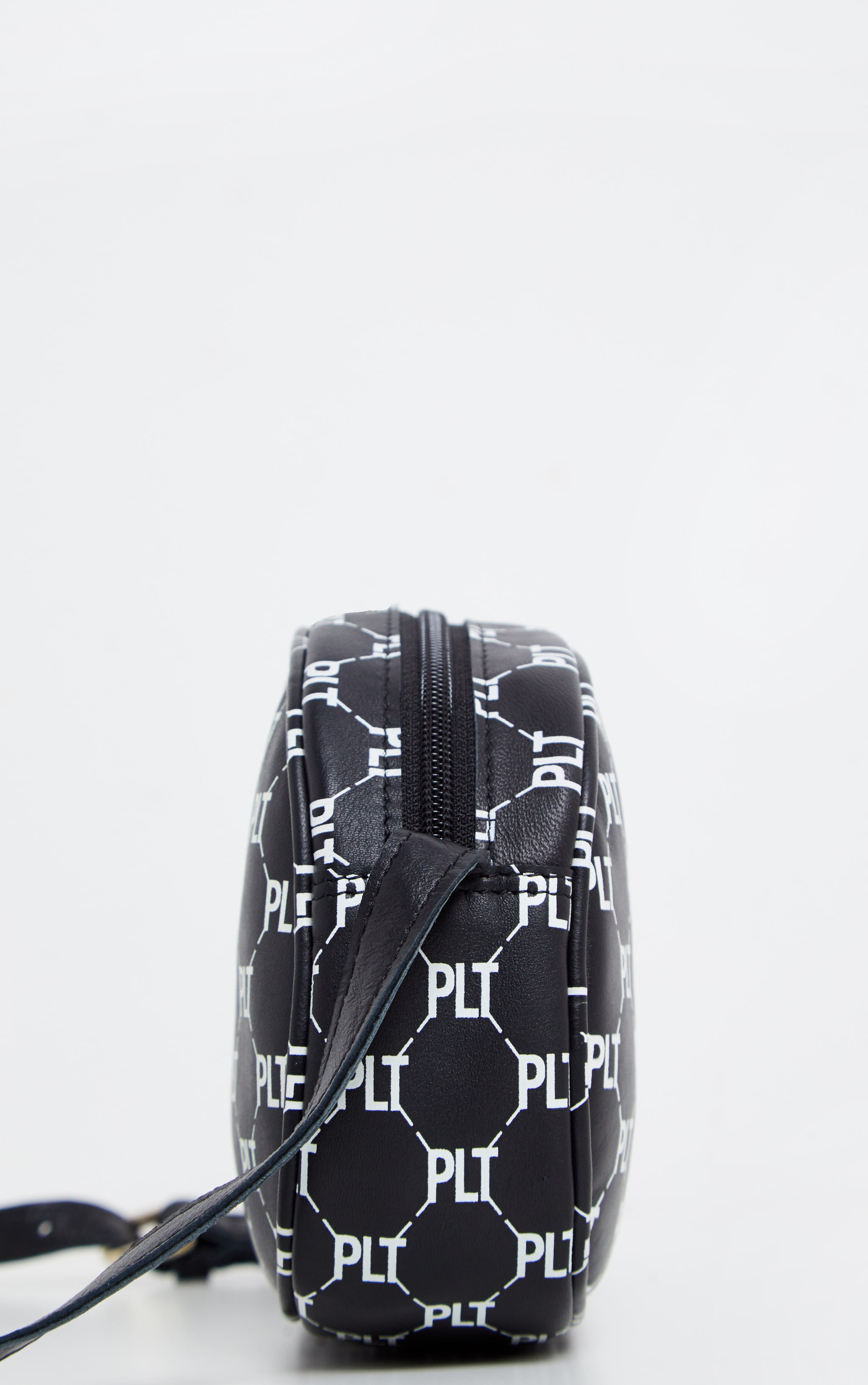 PRETTYLITTLETHING Real Leather Black Logo Cross Body Bag 4