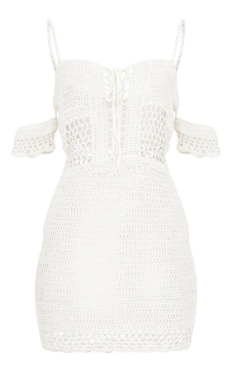 Cream Crochet Bardot Dress 3