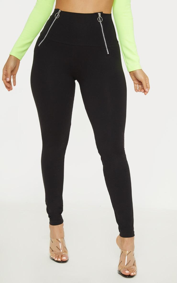 Black Ring Pull Zip Detail Legging 2