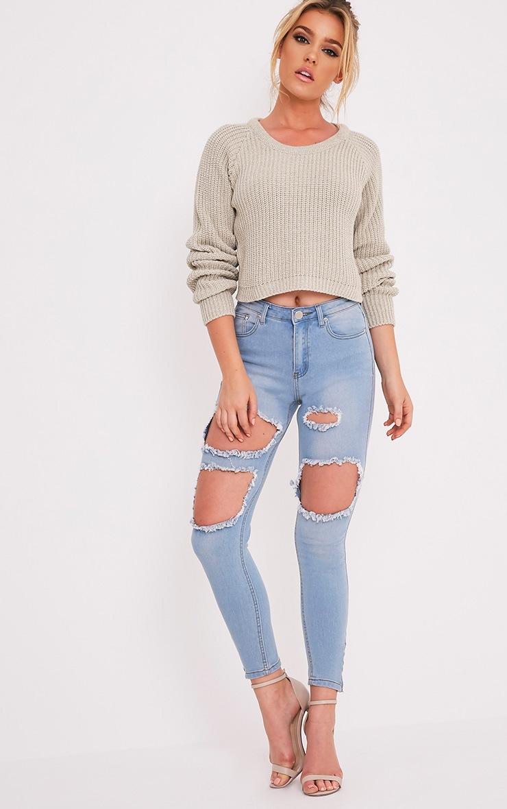 Oceana pull court gris pierre tricoté mixte 5