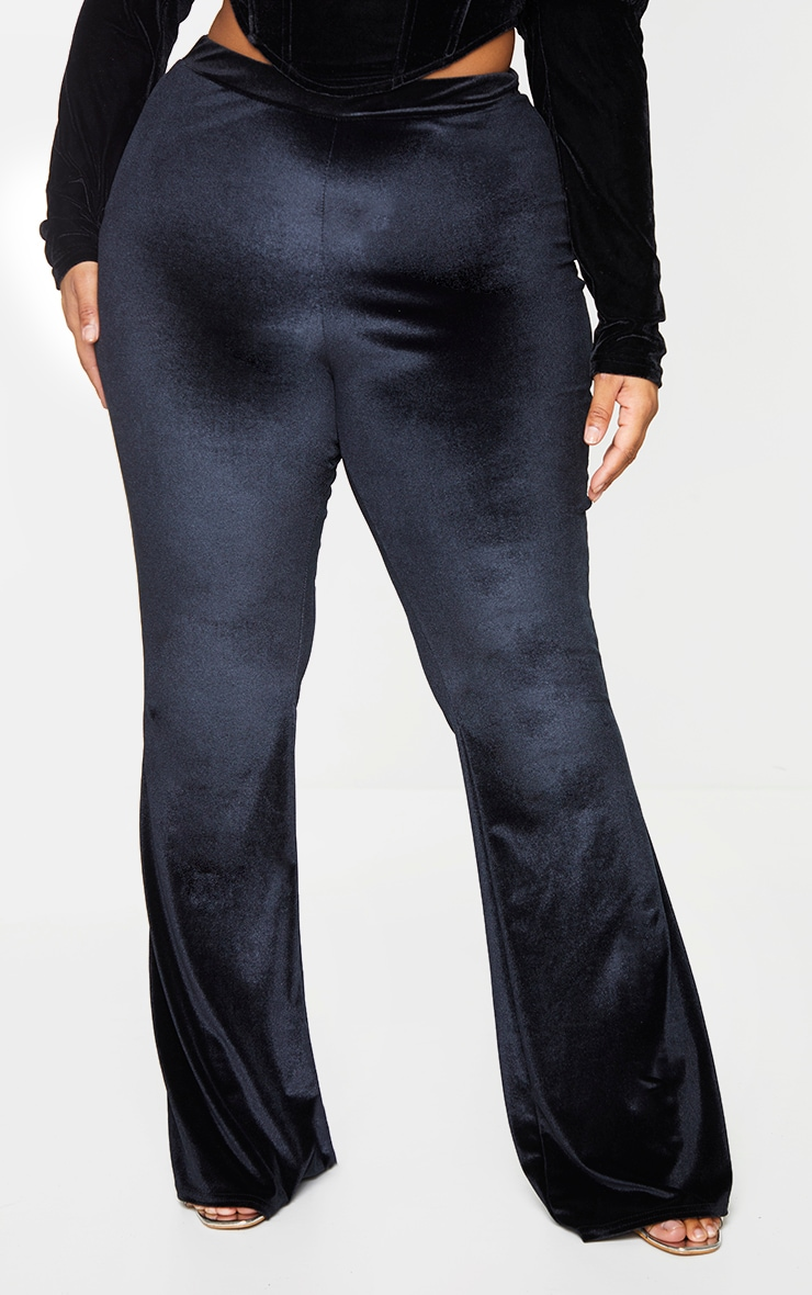 Plus Black Velvet Flared Pants 2